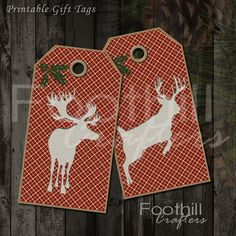 INSTANT DOWNLOAD -  12 Christmas Deer Gift Tags - 1.5 x 2 7/8 - Printable Digital Collage Sheet -  DIY Xmas Hang Tags - Wildlife - Outdoors #gift_tags #etsy #foothillcrafters #diytags #printabletags #downloadtags #outdoors #deer #wildlife #gifts