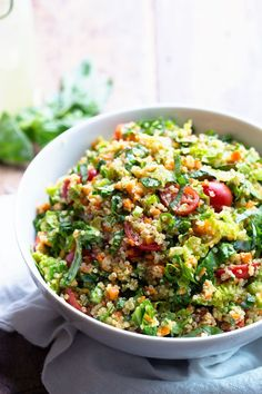 Herbed Quinoa Garden Veggie Salad tossed with a Lemon Herb Vinaigrette