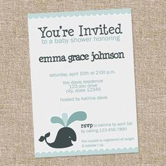 whale baby shower invite printable