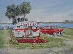 Vintage 1957 Chevy Comet Travel Trailer Flamingo RV Art | eBay