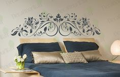 Floral Headboard Wall Decal Removable Vinyl Wall by decalyourwall, $32.95