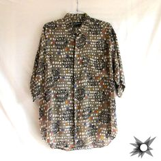Vintage 1990's Men's Abstract Ethnic Patterned Button Front Short Sleeve Rayon Shirt Size Medium/Large by SatelliteVintageCo on Etsy