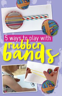 We've got 5 easy ways for kids to play with this common household item: rubber bands. These activities range from active, to musical, to creative! Music For Kids, Rubber Bands, Music Bands, Household Items, 5 Ways, Activities For Kids, Range, Entertaining, Play