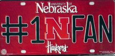 Nebraska Cornhuskers #1 Fan License Plate