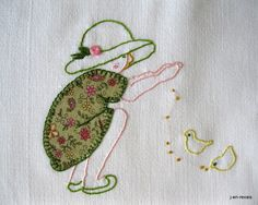 fabric and embroidery little girl