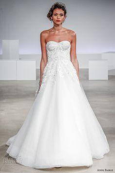 anne barge fall 2017 bridal strapless semi sweetheart neckline heavily embellished bodice bustier sexy a  line wedding dress sweep train (eleanor) mv