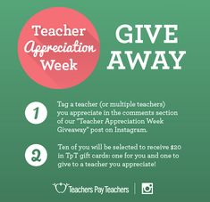 Teacher Appreciation Week Giveaway - Go to TpT's Instagram and tag a teacher you appreciate to win gift cards from TpT!
