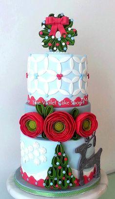 Christmas RANUNCULUS and SILVER REINDEER Cake
