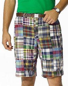 Men's Madras Patchwork Bermuda Shorts-Menemsha | Men's Favorites ...