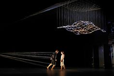 "String in dance piece ""Connected"" using big contraption that attaches dancer to sculpture"