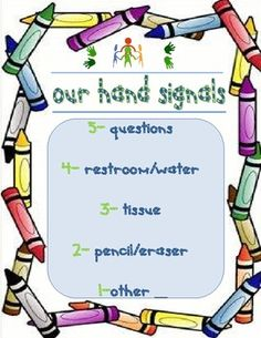 Students raise their hand with a given number of fingers, so the teacher knows what the student needs right away. Limits interruptions in the classroom.