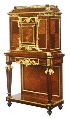 François Linke 1855 - 1946 A fine and rare gilt bronze mounted kingwood, satiné and fruitwood floral marquetry side cabinet France, early 20th century, index number 1051, variante of index number 2488 after the model by André-Charles Boulle