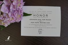 Honor Cards for wedding! In leiu of favors honor your lost family members!