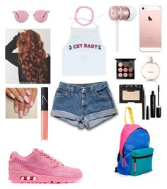 """""""90s GAL"""" by jmadison0601 ❤ liked on Polyvore featuring NIKE, Boohoo, ASOS, Oliver Peoples, Beats by Dr. Dre, Chanel, MAC Cosmetics, Marc Jacobs and NARS Cosmetics"""