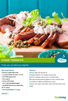 Planning a lazy Sunday lunch? Cooked in under 30 minutes, you can't get any lazier than #steak tonnato made with our lazy aged rump steak. dailydish #picknpay #freshliving