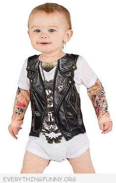 funny baby faux tattoo motorcycle baby romper - very cute!