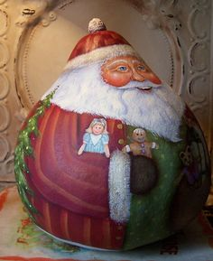 Santa Folk Art Christmas Original One of a kind Hand Painted Gourd with Yellow Labrador Retriever