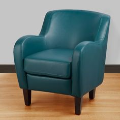 Bedford Turquoise Bonded Leather Tub Chair | Overstock.com - right size, trying to convince myself that yes I need some color in our beige living room!