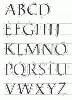Plate of Roman Capitoline ductus by Vincent Gesnelay, Scripsit association Hand Lettering Fonts, Creative Lettering, Lettering Styles, Lettering Design, Handwritten Fonts, Calligraphy Practice, How To Write Calligraphy, Calligraphy Letters, Sign Writing