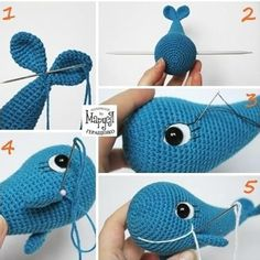 Amigurumi blue whale - showing how the features are added. Crochet Fish Patterns, Crochet Whale, Crochet Owls, Knit Or Crochet, Cute Crochet, Amigurumi Patterns, Crochet Baby Mobiles, Crochet Flower Tutorial, Knitted Animals