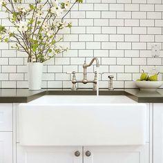 Subway tiles, dark grout, handle knob colour, love it. Kitchen design by Mint Kitchens, Melbourne. Mint Kitchen, Kitchen Mixer, New Kitchen, Kitchen Ideas, Butler Sink Kitchen, Kitchen Taps, Kitchen Fixtures, Kitchen Reno, Kitchen Interior