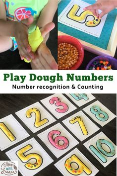 This play dough numbers activity is so fun and so good for helping kids learn all about numbers. It's a great sensory activity too! Preschool Math Games, Playdough Activities, Number Activities, Counting Activities, Preschool At Home, Kids Learning Activities, Fun Math, Fun Learning, Preschool Activities
