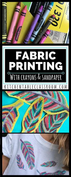 My kids love wearable art. This fabric printing method is especially do-able bec… My kids love wearable art. This fabric printing method is especially do-able because it doesn't require any special fabric medium, just plain old crayons. Diy T Shirt Printing, T Shirt Diy, Printing On Fabric, Fabric Painting, Fabric Art, Fabric Crafts, Dot Painting, Fun Crafts, Crafts For Kids