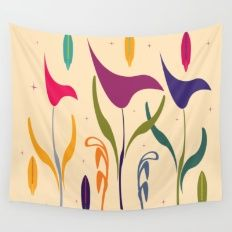 Bright Tropical Calla Lily Watercolor Impression Wall Tapestry