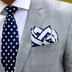 Polka Dot Tie and Pocket Square in Navy and White