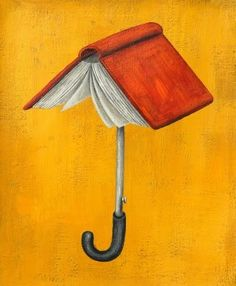 """André Letria and his artwork """"The book: an umbrella against ignorance""""  Couldn´t have said it any better myself!"""