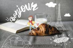 Ellie Page illustration - www.elisapaganelli.com Laura Ascari Photography - www.lauraascari.com  #Paris #Parigi #France #Illustration #experiment #photography #croissant #food #cute #book #inspiration #breakfast #bonjour #buongiorno #morning #lauraascari #elisapaganelli #elliepage
