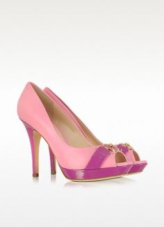 Versace Neon Pink Leather Platform Pump