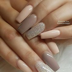 What manicure for what kind of nails? - My Nails Neutral Nail Designs, Neutral Nails, Acrylic Nail Designs, Nail Art Designs, Nails Design, Fingernail Designs, Neutral Tones, Fabulous Nails, Perfect Nails