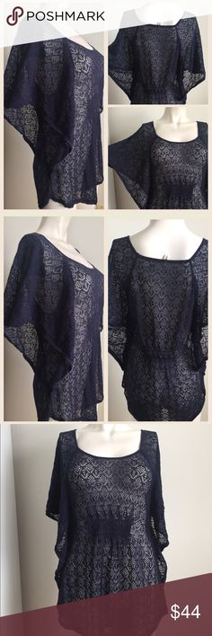 Anthropologie navy top Gorgeous navy top by Moth from Anthropologie. Looks cute with a pair of distressed denim and pumps. Perfect  day to night top! Wear a white or navy tank underneath as it is a see through design. Anthropologie Tops