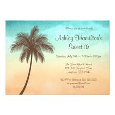 Tropical Beach Palm Tree Sweet 16 Birthday Party Invitations