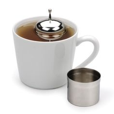RSVP Stainless Steel FLOATING LOOSE TEA INFUSER Ball w/CADDY Pot Cup Green Tea