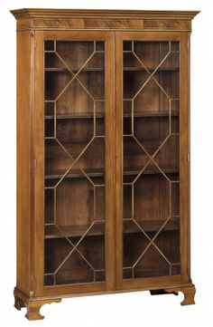 Style #FCCDCB-9-Display cabinet with white boxwood stringing inlay, two doors with glass with barring, fluted front corner columns and brack...