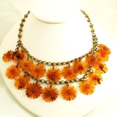 Amber Sunflower Celluloid Floral Necklace