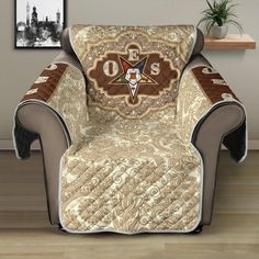 Wingback Chair, Armchair, Sofa Protector, Stitch Patterns, Custom Design, Beige, Luxury, Fabric, Furniture