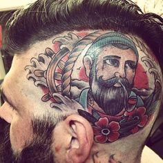 head tattoo of a beard man beards bearded men tattoos tattooed scalp face pipe traditional style sailor ink inked design designs idea ideas