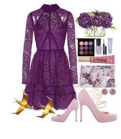 """Untitled #115"" by lovelyemilyk on Polyvore featuring Elie Saab, Ted Baker, Too Faced Cosmetics, Christian Louboutin, John-Richard, Topshop, Betsey Johnson, MAC Cosmetics, Deborah Lippmann and By Terry"