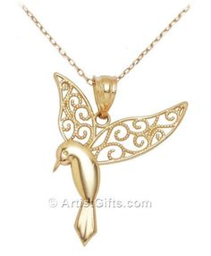 14k Gold Hummingbird Necklace. Delicate filigree hummingbird jewelry. Made in the U.S.A. Free US Shipping. #gold14kjewelry