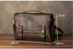 Leather Briefcase Men, Brown Leather Messenger Bag, Men's Briefcase, Laptop Briefcase GZ048