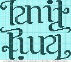 knit/purl knitting chart ambigram.