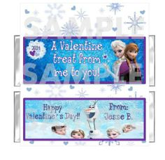 DISNEY FROZEN Valentines Day candy bar wrappers favor FREE FOILS Personalized