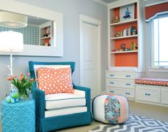 A Refreshing Aqua & Orange Boy's Nursery featuring the Funky Floor Lamp in White and Flower Stool in Bahaman Sea Blue.