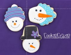 CookieCrazie: Simply Winter Cookies: Snowman with Knit Cap (Tutorial) Glaze Icing, Christmas Cookies, Christmas Ornaments, Cookie Tutorials, Cookie Designs, Cupcake Cakes, Cupcakes, Cookie Decorating, Decorating Ideas