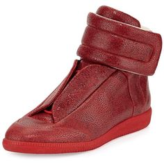 Maison Margiela Future Printed Leather High-Top Sneaker ($1,085) ❤ liked on Polyvore featuring men's fashion, men's shoes, men's sneakers, men's shoes sneakers, red, mens high top shoes, mens high tops, mens red shoes, mens leather shoes and maison margiela mens shoes
