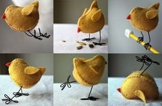 Sweet tutorial – stuffed felt bird with wire feet (he might look really cute tucked into a wreath or some of the floral projects,or one of the more primitive nests)