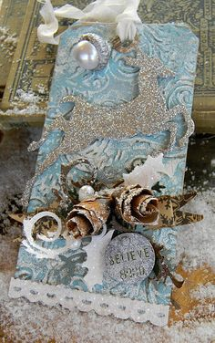 My version of Tim Holtz's Day 1 Christmas tag